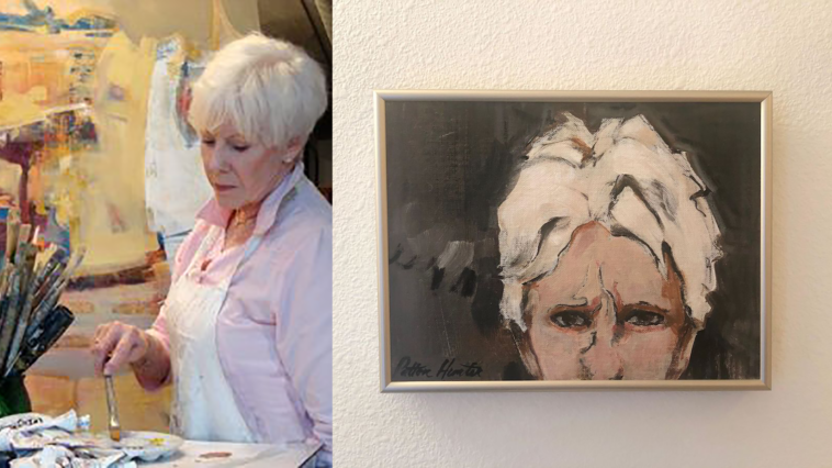 side by side image of a painter in her studio and a self portrait on a wall