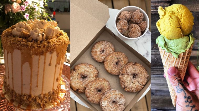 Image of variety of desserts including cake, donuts and ice cream