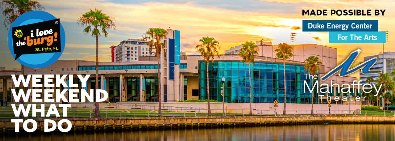 The Mahaffey Theater and its reflection in the water with a colorful sunset