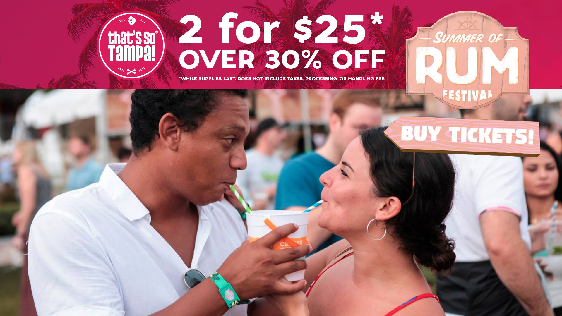 Photo of couple sharing a rum drink with straws for Rum Festival