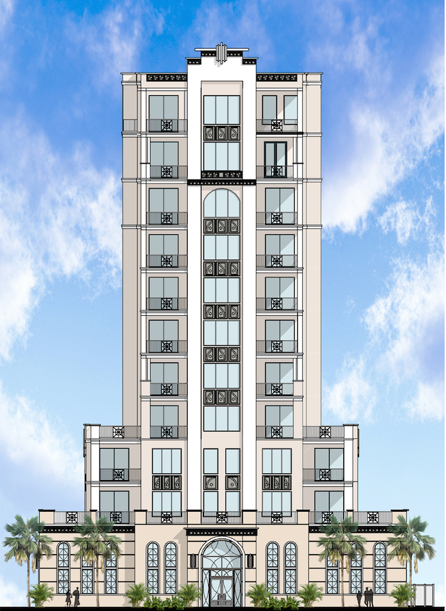 Full rendering of The Perry, a new luxury condo tower on 4th Ave NE