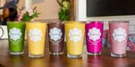 Selection of different smoothies at a juice bar