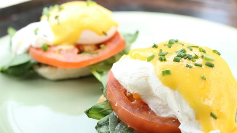A plate of eggs Benedict