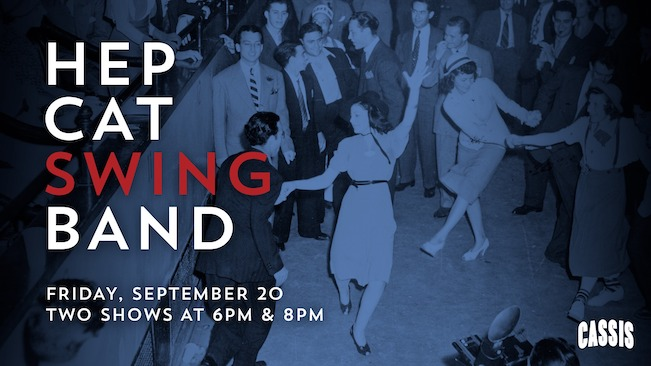 Advertisement featuring a group of people swing dancing