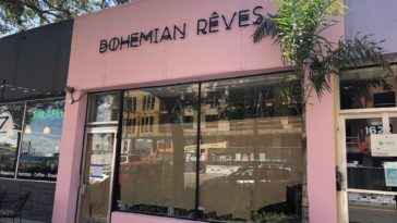 Pink storefront of Bohemian Reves in St. Pete