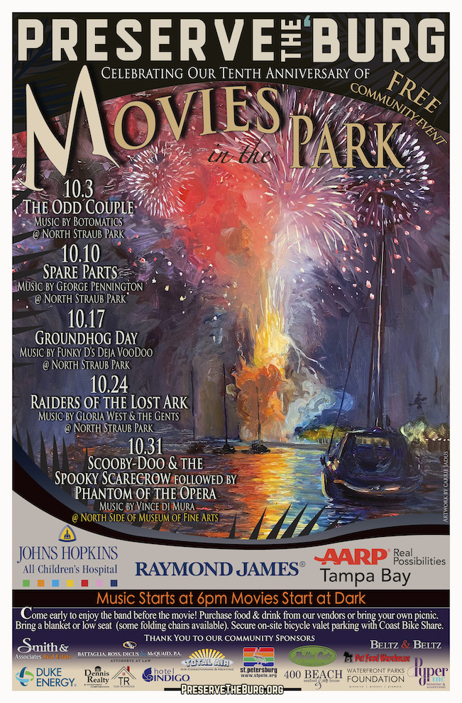 A promotional poster listing the events for Movies in the Park