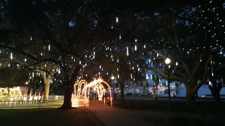 Holiday decoration in a waterfront park