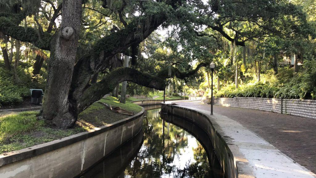 Photo of a creek in a historic neighborhood