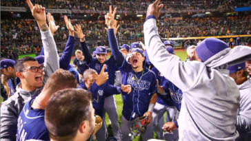 Tampa Bay Rays celebrating a victory
