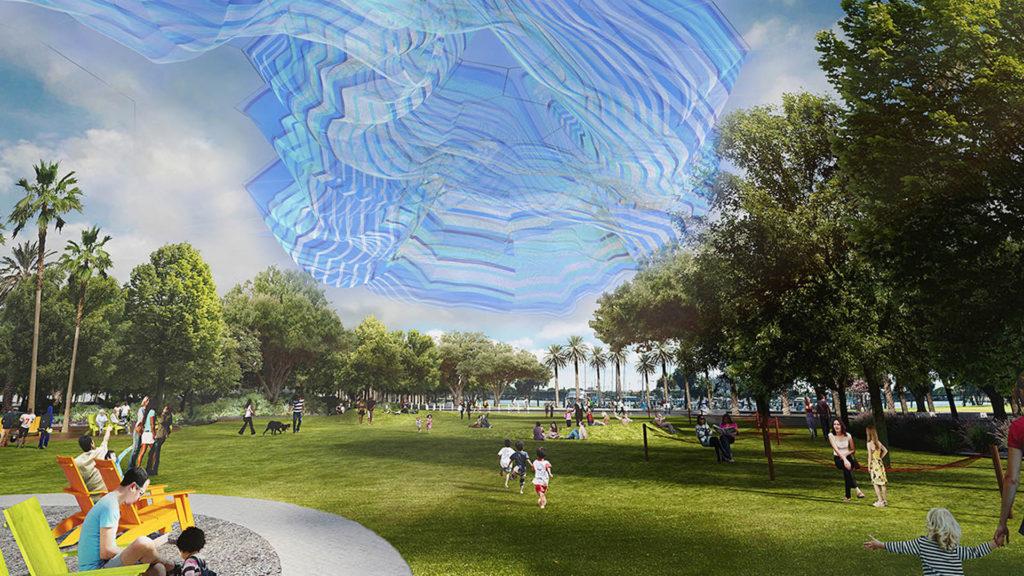 Rendering of Janet Echleman's net sculpture