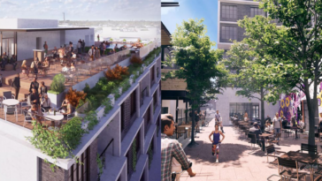 Renderings of a rooftop bar and retail space