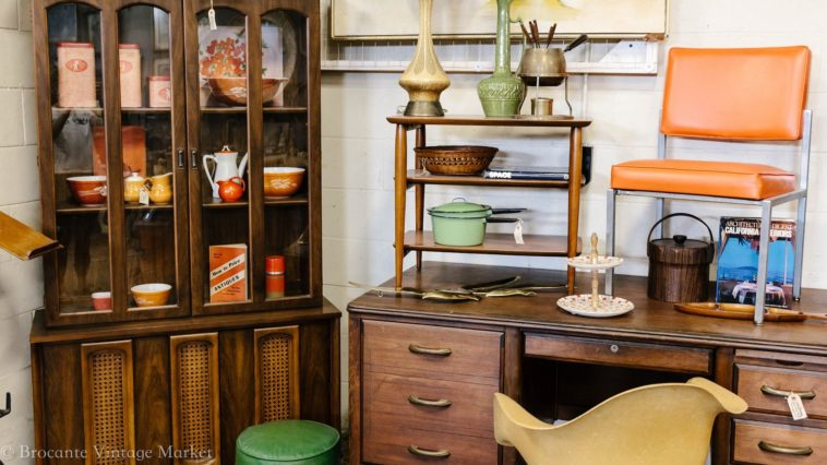 Photos of vintage items in a warehouse