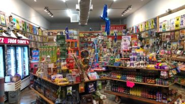 Inside giant candy shop
