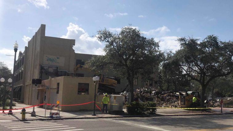Remains of a demolished building in downtown St. Pete