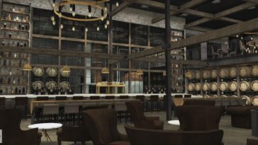 Rendering inside a new distillery and event space