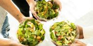 Photo of three healthy salad bowls