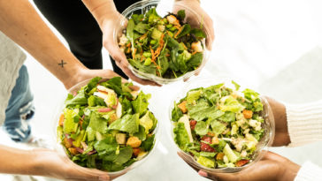 Photo of three healthy salad bowls