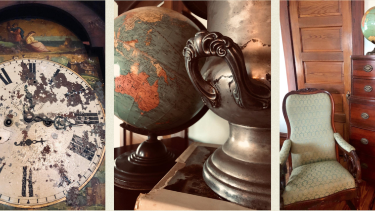 Photo of vintage globe, clock, and furniture