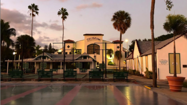 Photo of shuffleboard courts at sunset