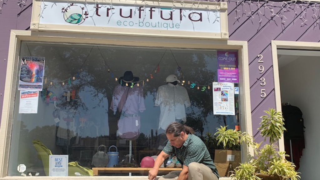 Outside a purple eco-friendly boutique