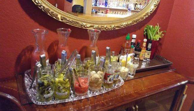 Photo of a Bloody Mary bar