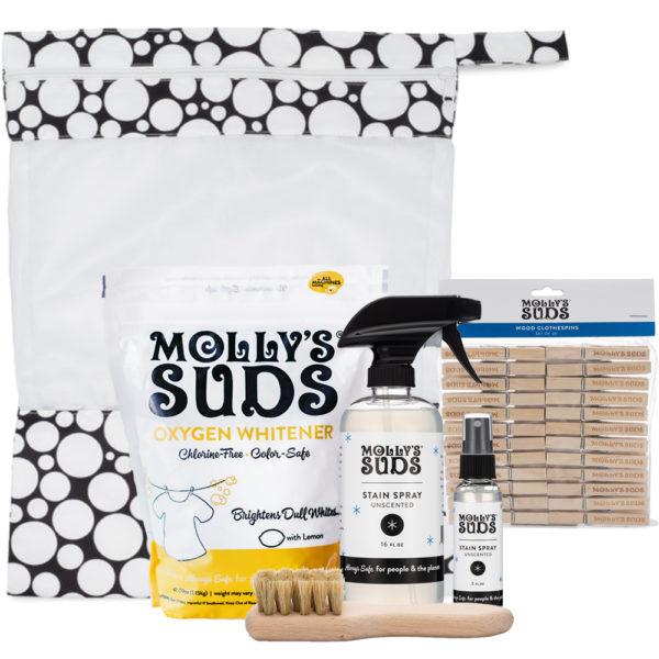 Laundry Essentials Bundle: Oxygen Whitener, Stain Spray 16oz, Stain Spray 2oz, Laundry Brush, Mesh Bag, Clothespins,