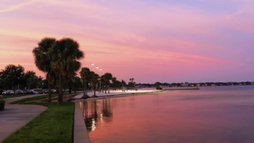 Pink sunset over a park/beach in St. Petersburg, Florida