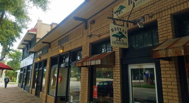 Brick exterior of a coffee shop/cafe