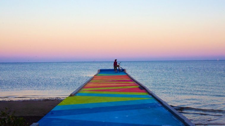 Sunset shot on a painted pier in St. Petersburg