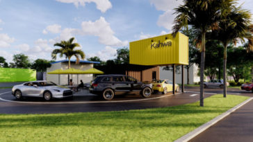 Rendering of a shipping container coffee drive-thru