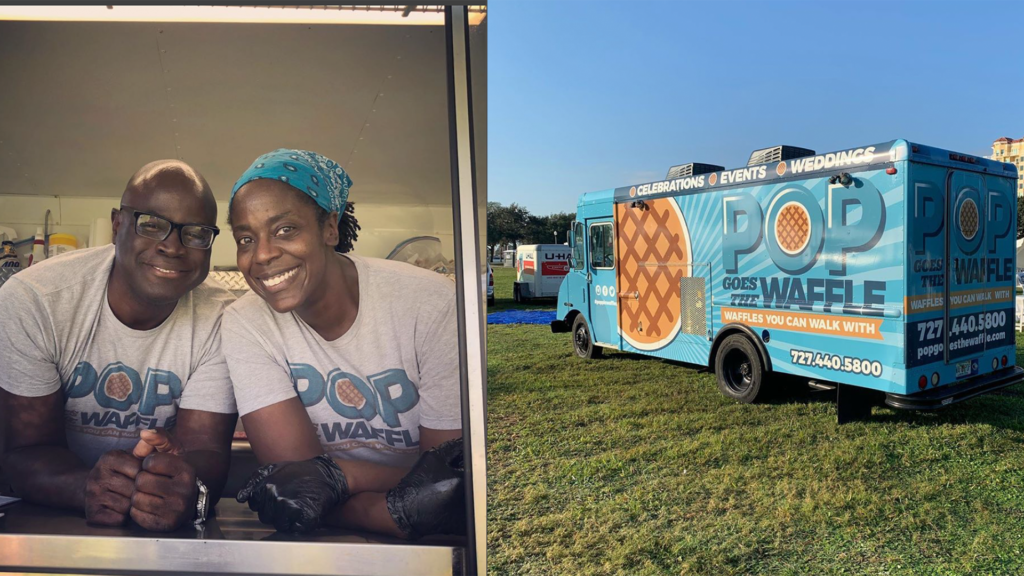 Photo of a waffle food truck with two people smiling together in the pickup window