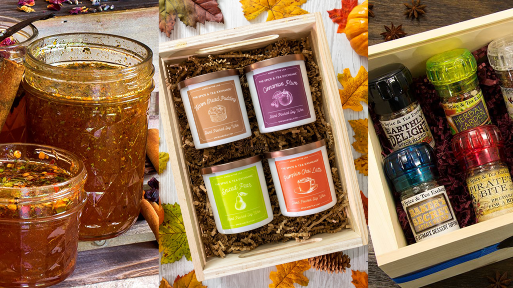 Photo of assorted spices, infused honey, and candles