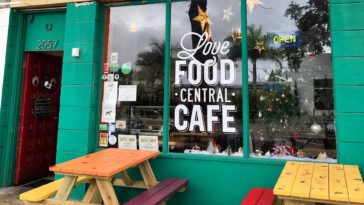 Green Exterior of vegan restaurant Love Food Central
