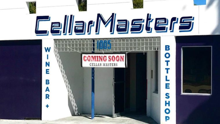 Exterior of a new wine bar with Cellar Masters painted in blue on the front