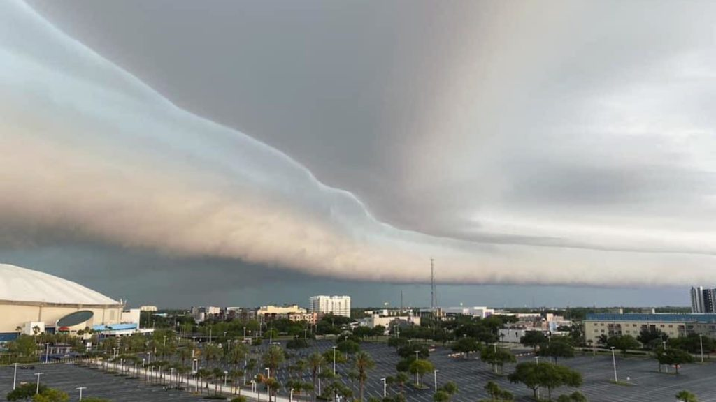 Shelf Cloud hovering high above Tropicana Field in St. Petersburg