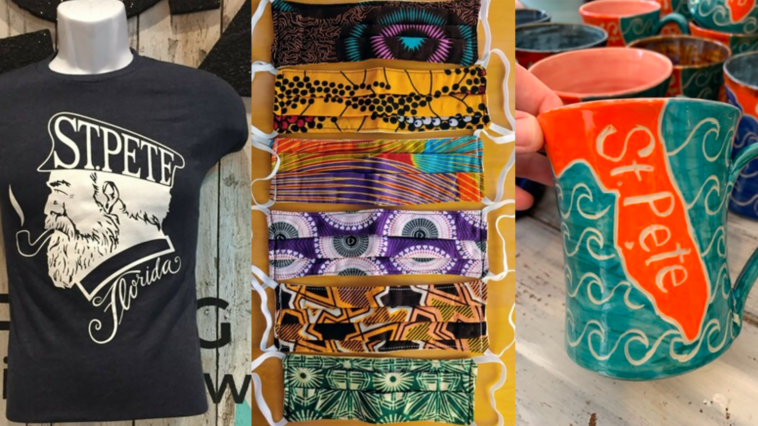 Assortment of locally made goods: st. Pete t-shirt, st. Pete mug, and cloth masks