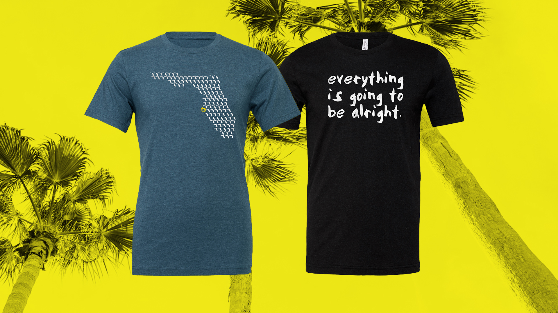 "A teal shirt with the map of florida in white made of smaller floridas. The tshirt on the right is black and says ""everything is going to be alright"""