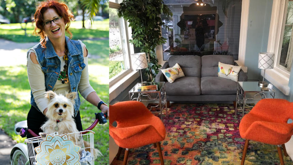Photo of Your CBD Store owner with her dog on a bicycle, set next to a photo of a furnished studio