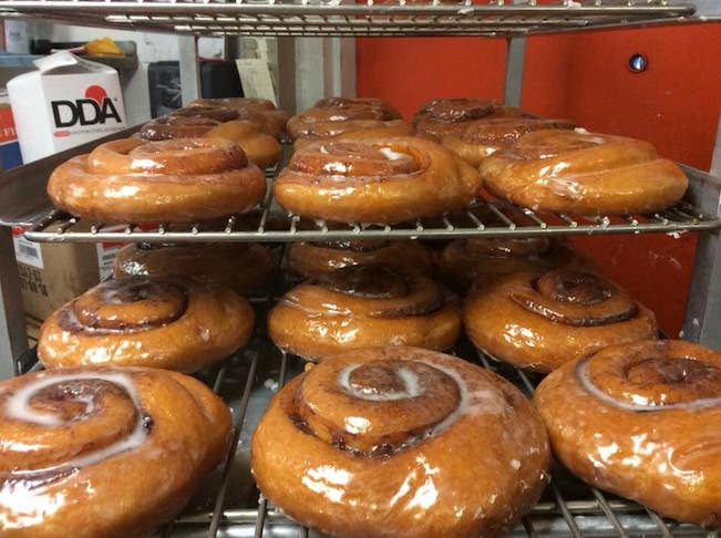 Photo of fresh glazed cinnamon roll