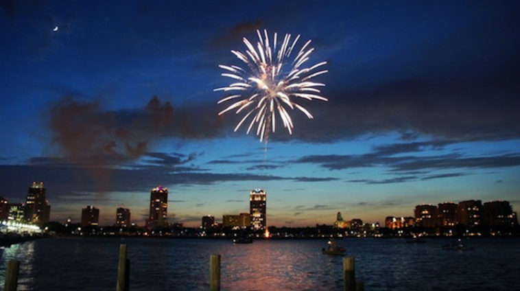 Fireworks display on the waterfront