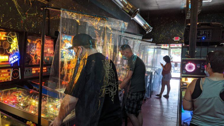Photo of a pinball arcade