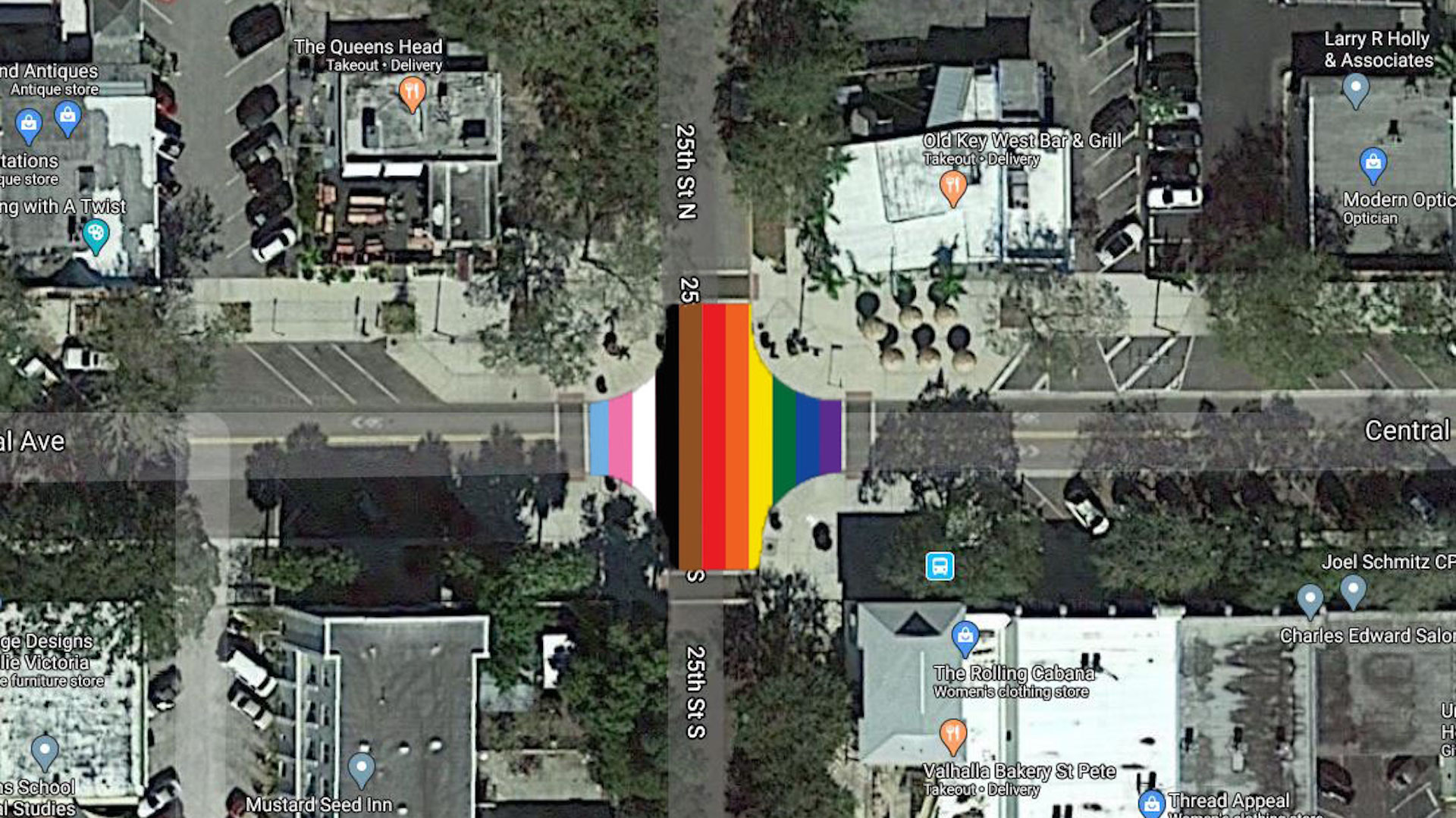 Aerial rendering of a new street mural with all the colors of the pride flag included
