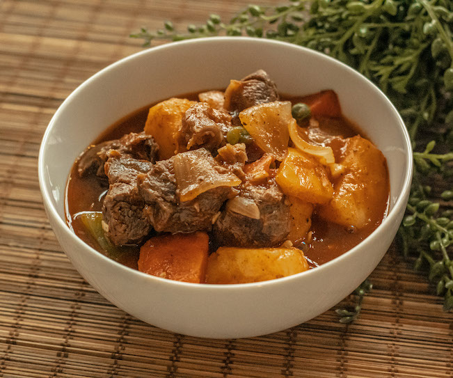 Beef Afritada - a stew played on a table