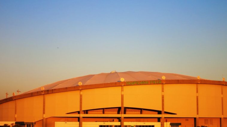 Exterior of Tropicana Field at Sunset