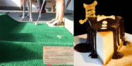 Side by side photos of a mini golf hole and a slice of cheesecake