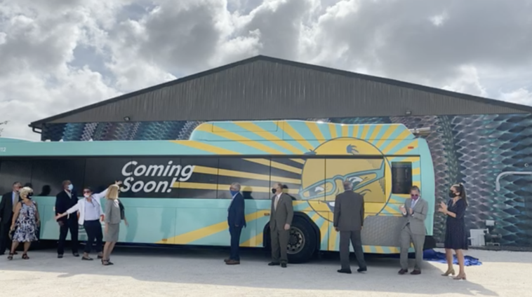 Photo of a bus with a massive sunshine wrap
