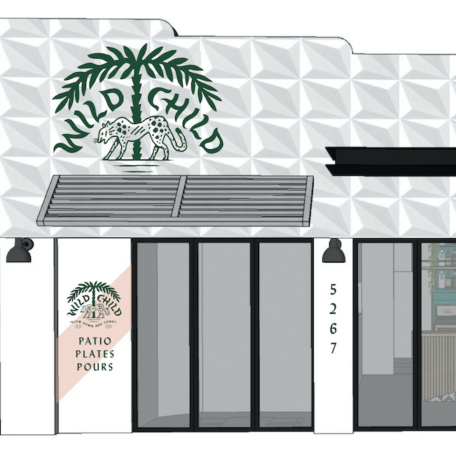Rendering of the front of a restaurant with the words wild child on the front