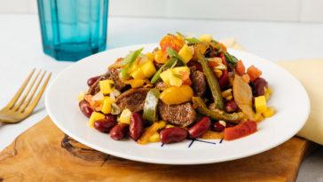 steak fajita bowl from rebuilt meals on a plate