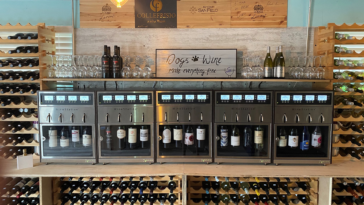 Photo of a large wine bar with several wines on tap