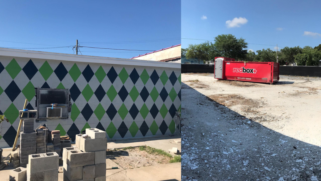 An argyle mural, and a large empty lot that will become a putt putt course